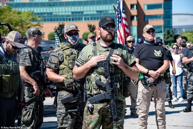 Members of militias from around the country responded to a call for a 'Patriot Gathering' in Louisville, Kentucky