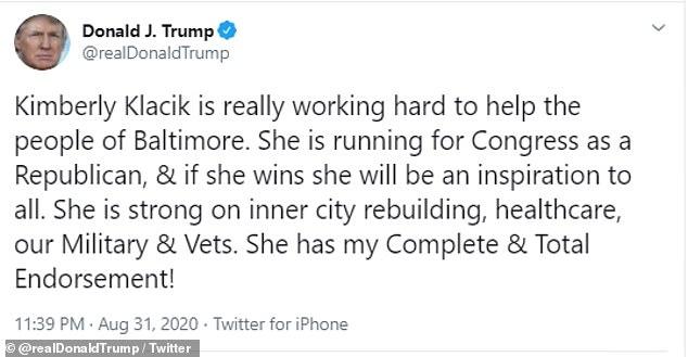 Last week, the president endorsed Klacik again, writing she had his ¿Complete & Total Endorsement'