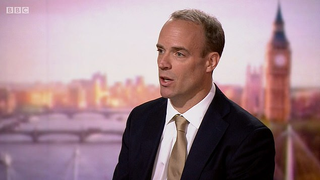 Foreign Secretary Dominic Raab told the BBC's Andrew Marr Show (pictured) that remote working is 'damaging to the economy' as he insisted a 'controlled' return would help the country 'bounce back'