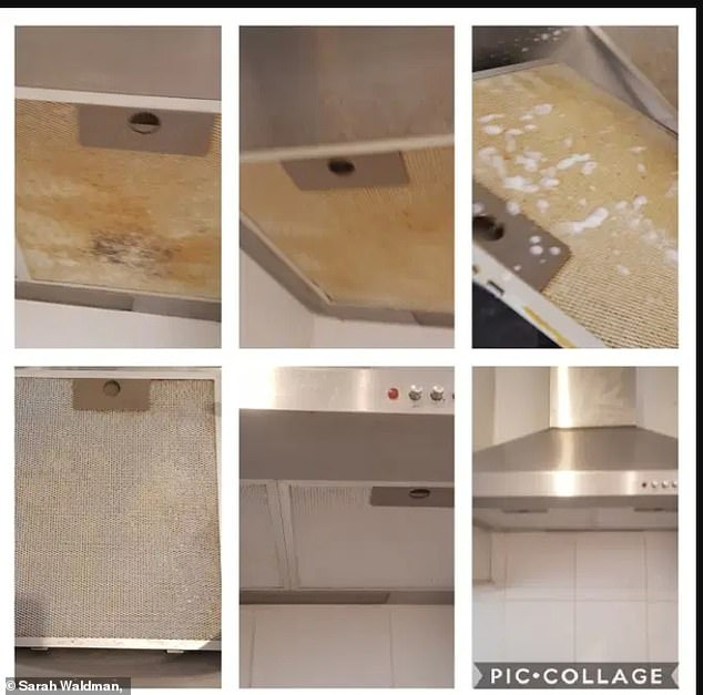 Sarah shared a collage of her process showing amazing results with the oven hood going from yellow and orange to sparkling clean