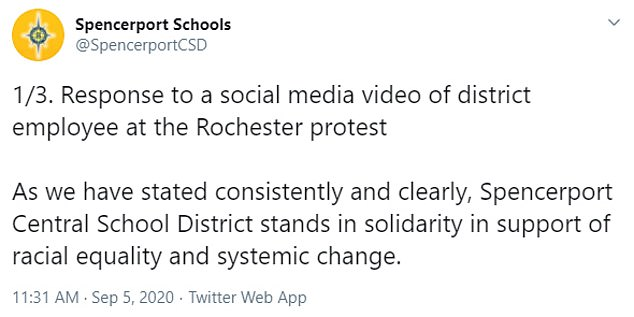After the footage went viral over the weekend the school district posted to Twitter Saturday to apologize and say it 'will be addressed as a confidential, personnel matter'
