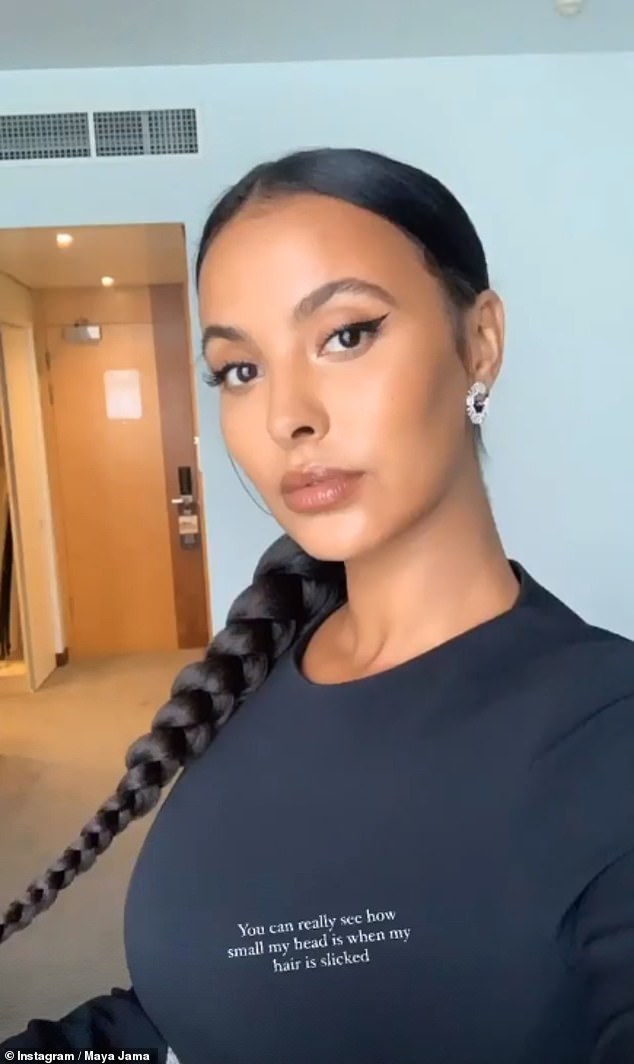 Catching the eye: The DJ, 26, stunned in black co-ords, which she teamed with dewy make-up and eclipse mini hoops by Lara Heems