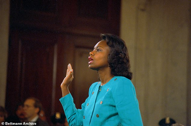 Led by Biden, an all-male panel of Republican senators launched a brutal line of questioning against Hill (pictured)