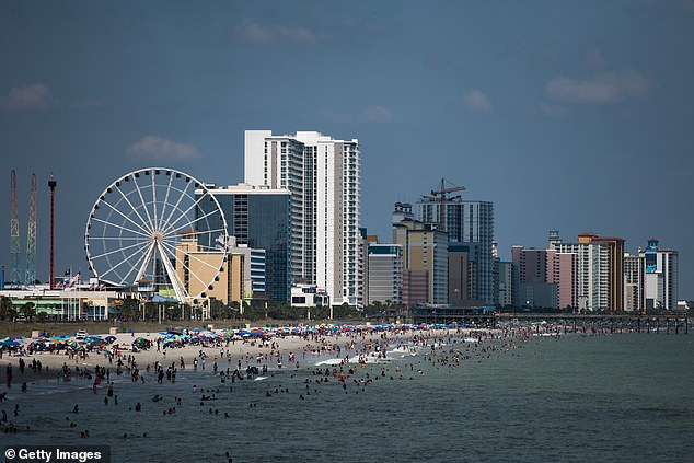 South Carolina's Myrtle Beach was busy with people on Saturday, enjoying the sun