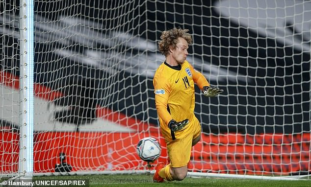 Trying his best: The actor, 33, narrowly failed to save a penalty in the south out
