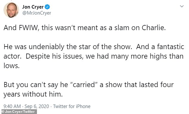 "'He was undeniably the star of the show': Cryer stressed that Matt 'can't say [Sheen] ""carried"" a show that lasted four years without him,' but clarified he wasn't underplaying his disgraced 55-year-old ex-castmate's talents"