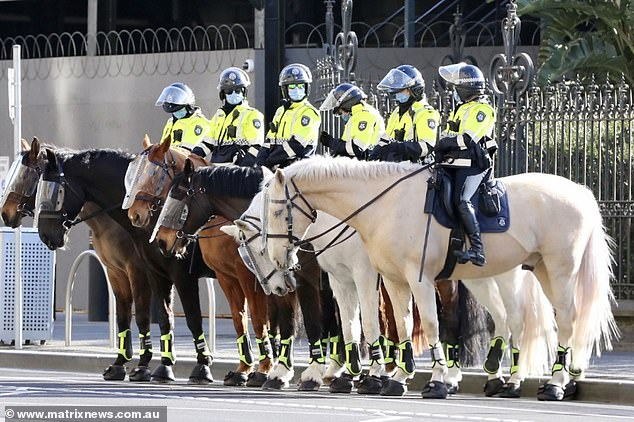 Police line up on horseback in Melbourne as hundreds of protesters descend onto the coronavirus-riddled city