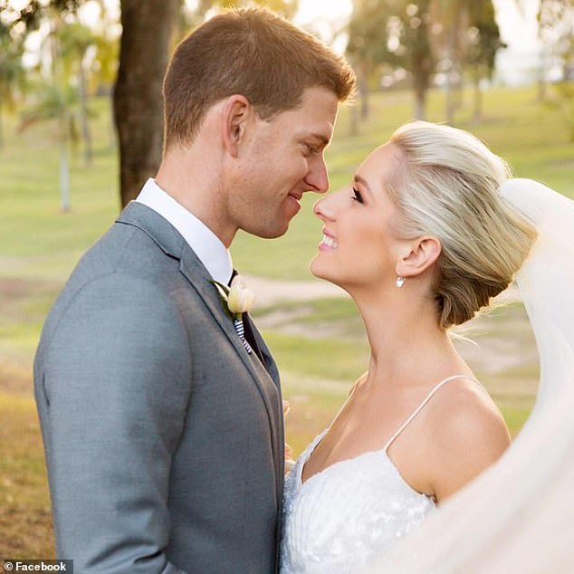 Matt and Ashleigh Conwell pictured at their 2017 wedding. Mr Conwell tragically took his own life last week amid the financial burden of both he and his wife losing their jobs while expecting triplets