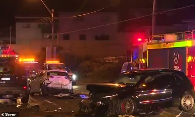 A 17-year-old girl suffered serious leg and internal injuries after a Mercedes 4WD allegedly veered into oncoming traffic and smashed head on into her Toyota Corolla near Blakehurst, south of Sydney, on Saturday night (scene of the crash pictured)
