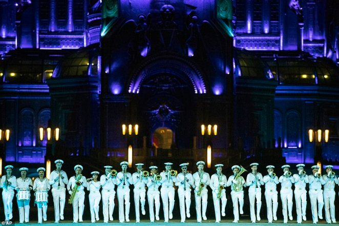 A Russian Navy band performs during the Spasskaya Tower military music festival in front of the Cathedral of Russian Armed Forces