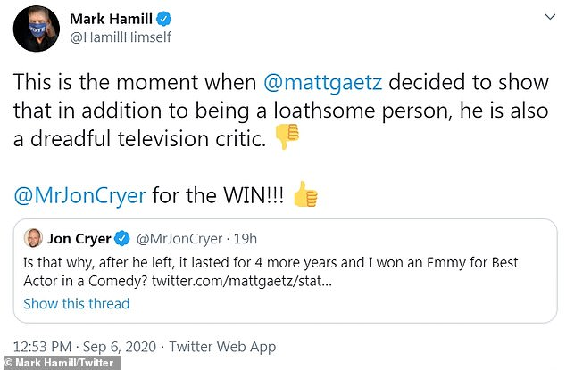 'In addition to being a loathsome person, he is also a dreadful television critic': Star Wars legend Mark Hamill also showed his support for Cryer by re-tweeting the exchange