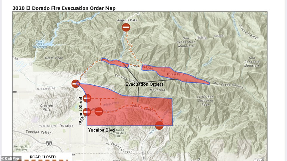 Evacuation orders are in place for the communities of Oak Glen, Yucaipa Ridge, Mountain Home Village and Forest Falls