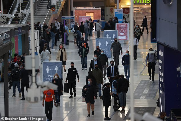Commuters were seen spilling into London's major train stations, including London Waterloo, as more people head back to their place of work in the wake of the coronavirus pandemic