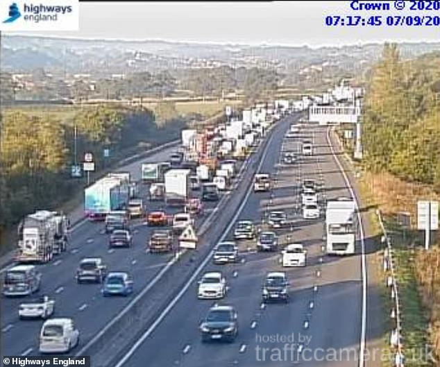 The M25 around London was also busy this morning. This picture from a Highways England camera shows the congestion
