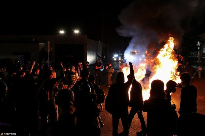 PORTLAND: Firefighters were called to the scene a short time later to put out fires at the protest site on Sunday