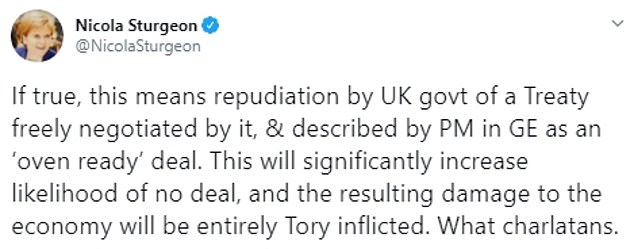 SNP leader Nicola Sturgeon branded Mr Johnson a 'charlatan' over the idea of changing the Withdrawal Agreement