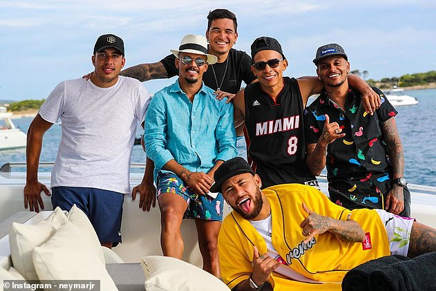 Neymar (bottom right) tested positive for coronavirus after recent vacation in Ibiza