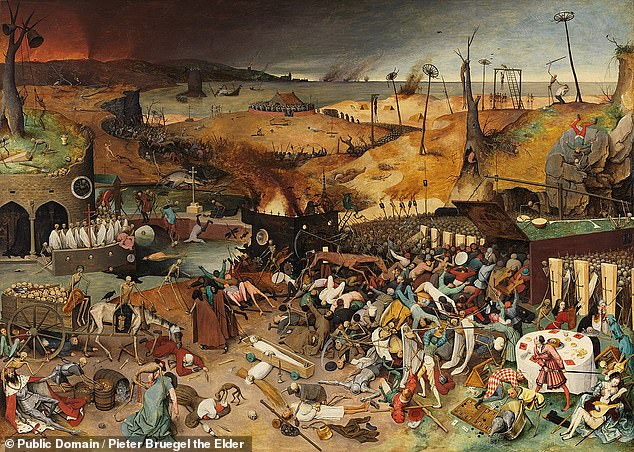 Rising civil unrest, conspiracy theories and racism typically follows in the wake of disease epidemics, a study of historical outbreaks has warned. Pictured, Dutch Renaissance painter Pieter Bruegel the Elder's oil composition 'The Triumph of Death'  depicts the social upheaval which beset medieval Europe in the wake of the Black Death