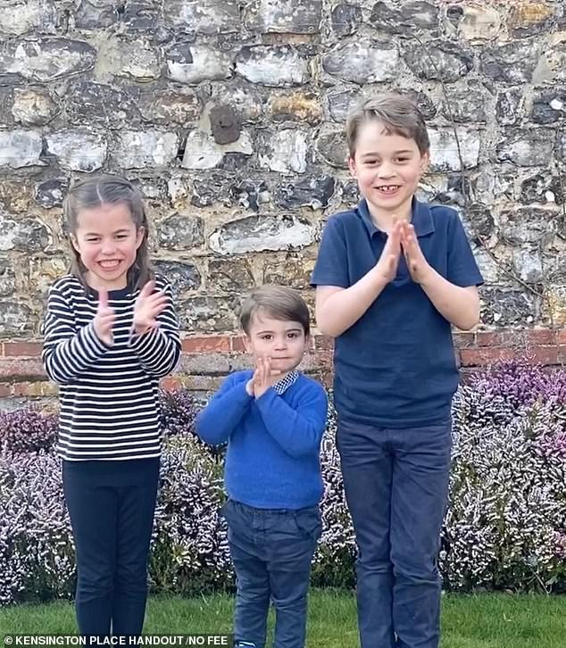 Victoria said that lockdown had brought the Cambridge children a 'privilege generations of royal youngsters have unavoidably been denied ¿ prolonged time at home with just Mum and Dad' (pictured, Prince George, Princess Charlotte and Prince Louis at Anmer Hall in April)