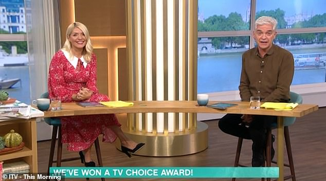 Winning: Earlier in the show, Phillip took a friendly jab at Piers Morgan after This Morning beat Good Morning Britain to win a TV Choice Award