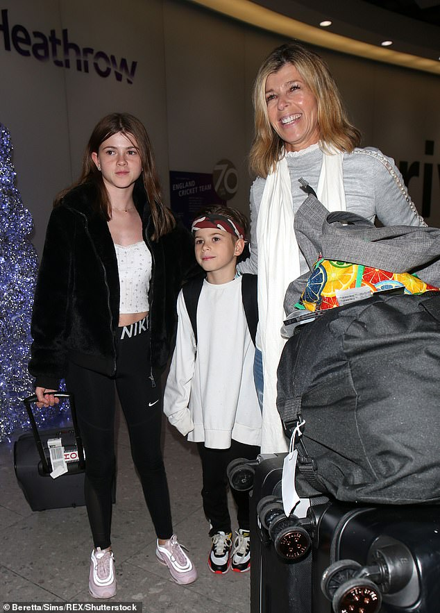 Doting mother:Kate and Derek married in 2005, and share daughter Darcey, 14, and son Billy, 11 (pictured in December)