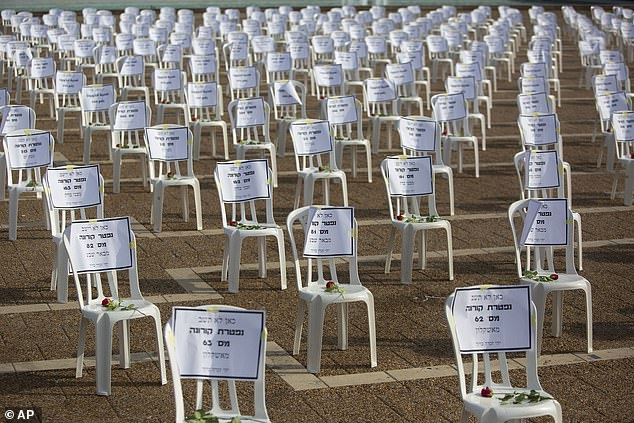 One thousand of chairs symbolizing those who died from the coronavirus were placed at the Rabin Square in Tel Aviv on Monday