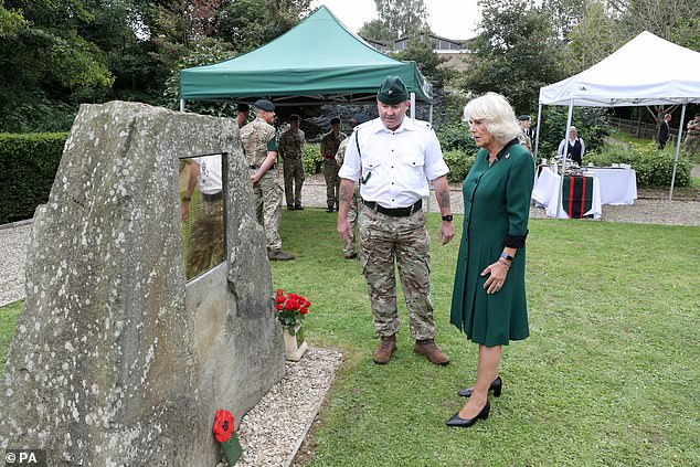 The Duchess, who appeared in high spirits throughout the visit, was also shown the Roll of Honour, at Beachley Barracks, earlier today
