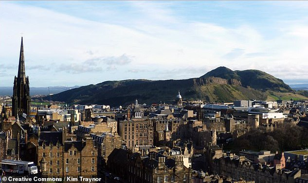 Arthur's Seat takes its name from the folktale suggesting that the mythical King Arthur is buried, asleep, in a glass coffin at the heart of the volcanic hill, which is pictured here with Edinburgh in the foreground