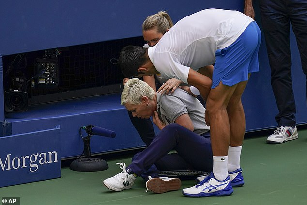 Laura Clark was the line judge struck by a ball from Novak Djokovic at the US Open on Sunday