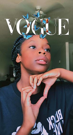 Naveah pictued from a post on her mother's Facebook page, partaking in the Vogue cover challenge