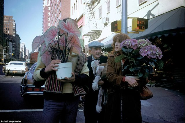 Above, New York City, 1976. Meyerowitz did not grow up wanting to be a photographer and he told DailyMail.com that photography 'didn't exist for me.' In his new book, How I Make Photographs, which he said he wrote to help people up their photography game, he pointed out: 'Once in a while, and usually for the briefest of moments, we are startled by something out there on the street, right in front of us that makes us gasp with recognition of the pure beauty of that moment. The moment is already disappearing while the gasp fills our lungs and our minds light up. That is your photographic moment, and only you can know it'
