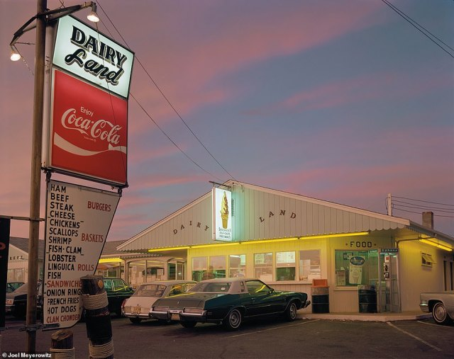 Meyerowitz said that his latest book grew out of his participation in an online class series called Masters of Photography. In Joel Meyerowitz: How I Make Photographs, he wrote: 'My process begins with having a sense of awe. When I start to feel that, I go with it. Keep your eyes open and see what you can discover.' He told DailyMail.com that the above image, Provincetown, 134 Massachusetts, 1977, is one his favorites. He took it around 8pm on a summer evening. 'It seemed to embody Americana. It was like a dreamscape,' he said, adding that 'humble things transmit beauty and power beyond what they actually are'