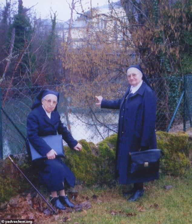 Sister Marguerite and Sister Denise in the 1990s. A cedar tree was planted at the convent to mark their efforts
