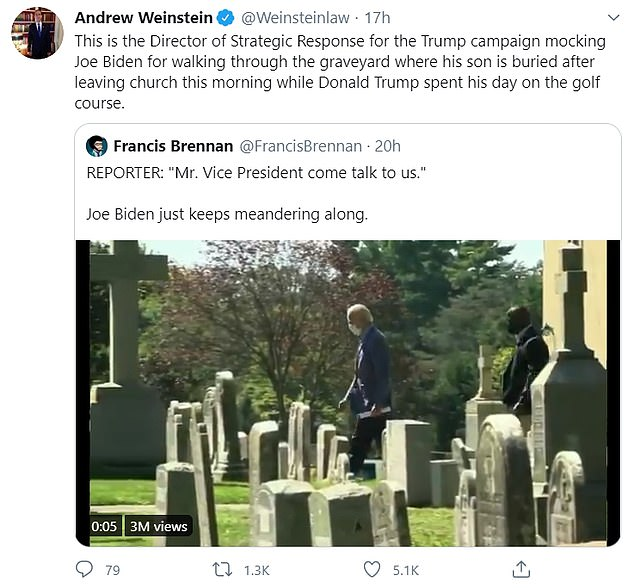 Andrew Weinstein, chair of the Democrats Lawyers¿ Council noted that Brennan was disrespecting Biden for visiting his family's graves as Trump spent his day on the golf course
