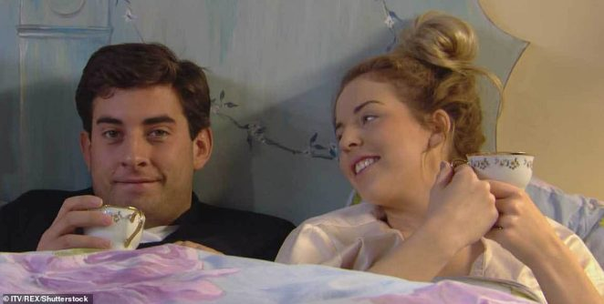 Happier times:James' first love on the show was Lydia Bright, with whom he had an extremely tumultuous romance which was fraught and broken by his infidelities