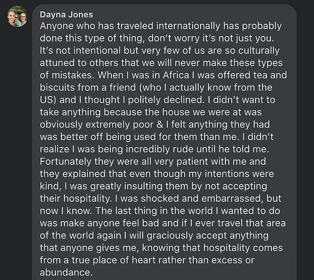 Danya Jones encourages travellers to accept hospitality, which she said comes from the 'heart' rather than 'excess or abundance'