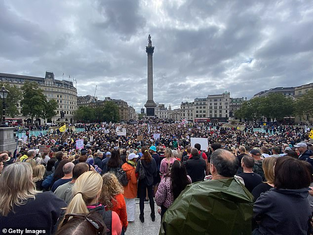 The large crowd gathered to protest the Government's coronavirus restrictions in Trafalgar Square on August 29