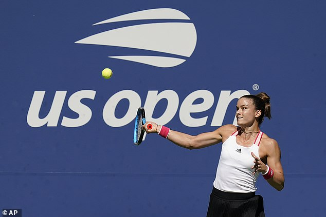 The Greek 15th seed improved in the second set, which she claimed in the tiebreak