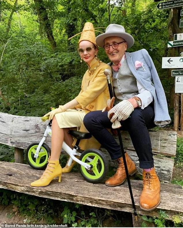 Günther, dubbed Hipster Grandpa, has amassed 70,000 followers on Instagram thanks to his stylish ensembles, while his partner Britt (pictured together) has 25,000 on her social media account