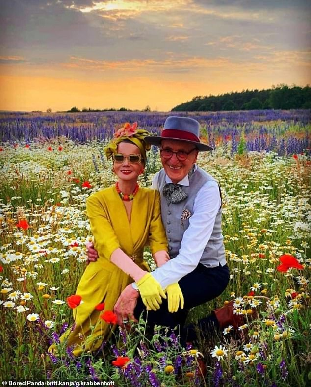 Celebrate good times, come on! Upon Britt turning 70, the couple posed in a field of wildflowers whilst dressed in all their finery