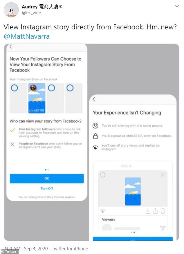 A tweet of the pop-up users receive inviting them to link their Instagram and Facebook Stories.Facebook friends who do not follow you on Instagram will not see your IG stories