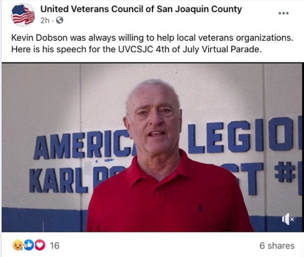 Sad News: The United Veterans Council of San Joaquin County - where Dobson once served as chairman - announced the news on Monday through his official Facebook page