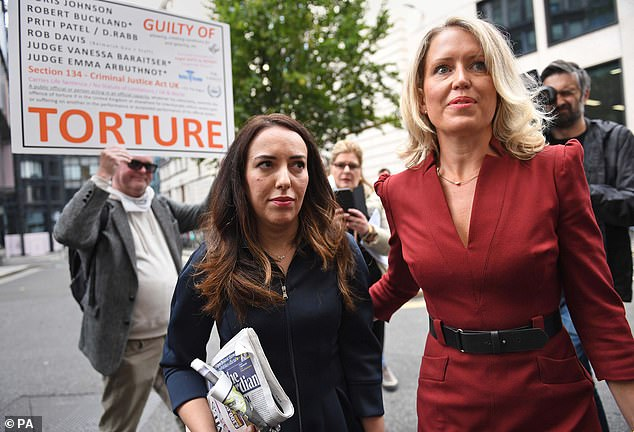 Julian Assange's fiancee, Stella Moris (left), was today spotted outside court with friend-of-the-stars human rights lawyer Jennifer Robinson