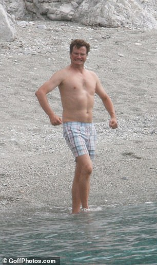 Colin Firth is pictured on set the Mamma Mia movie in 2007