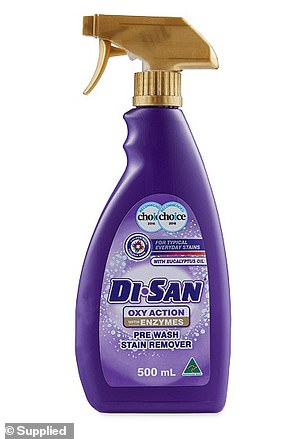 For cleaning, shoppers relied on the humble Di San Oxy Action PreWash Stain Remover 500ml ($1.29; pictured)