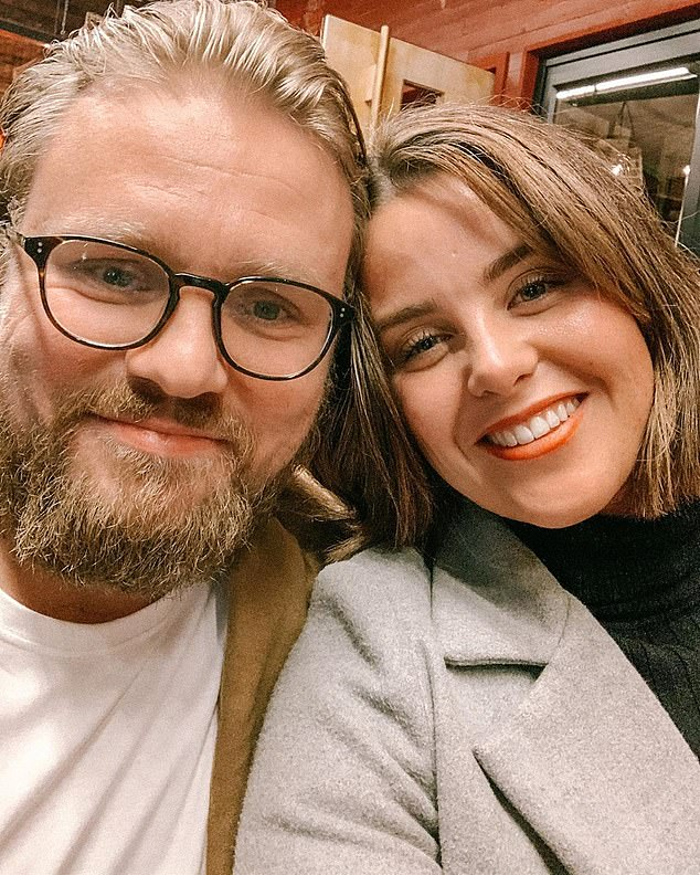 Dubber met her partner Mitchell McDonald (pictured left) through a dating app in late 2016. The pair are now engaged and Dubber said he was the 'love of her life'