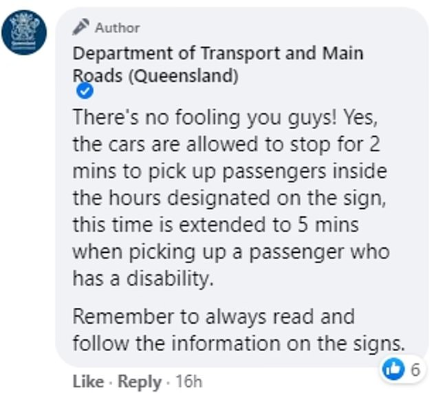 The Department of Transport and Main Roads later posted an update in which they gave the correct answer to the quiz