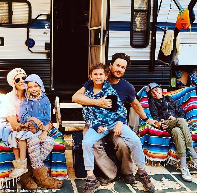 July 10 family portrait: Oliver has three children - son Wilder, 13; son Bodhi, 10; and daughter Rio, 7 - from his 14-year marriage to Erinn Bartlett