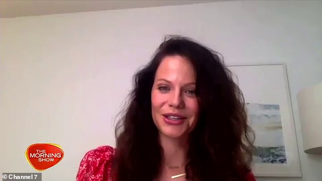 Sounding different: South African born Australian actress Tammin Sursok's thick American accent was hard to ignore as she appeared on Channel Seven's The Morning Show in Sydney via a live link from her home in the United States