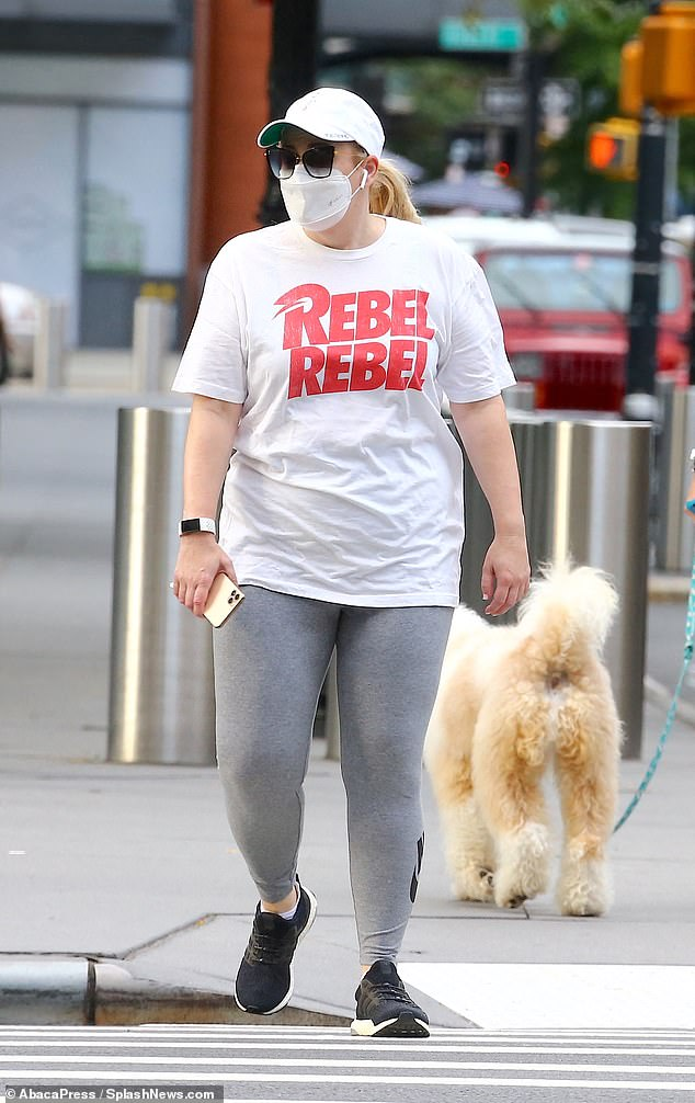 Low-key outing: Rebel Wilson dressed for comfort as she stepped out in New York City's Tribeca neighbourhood on Monday